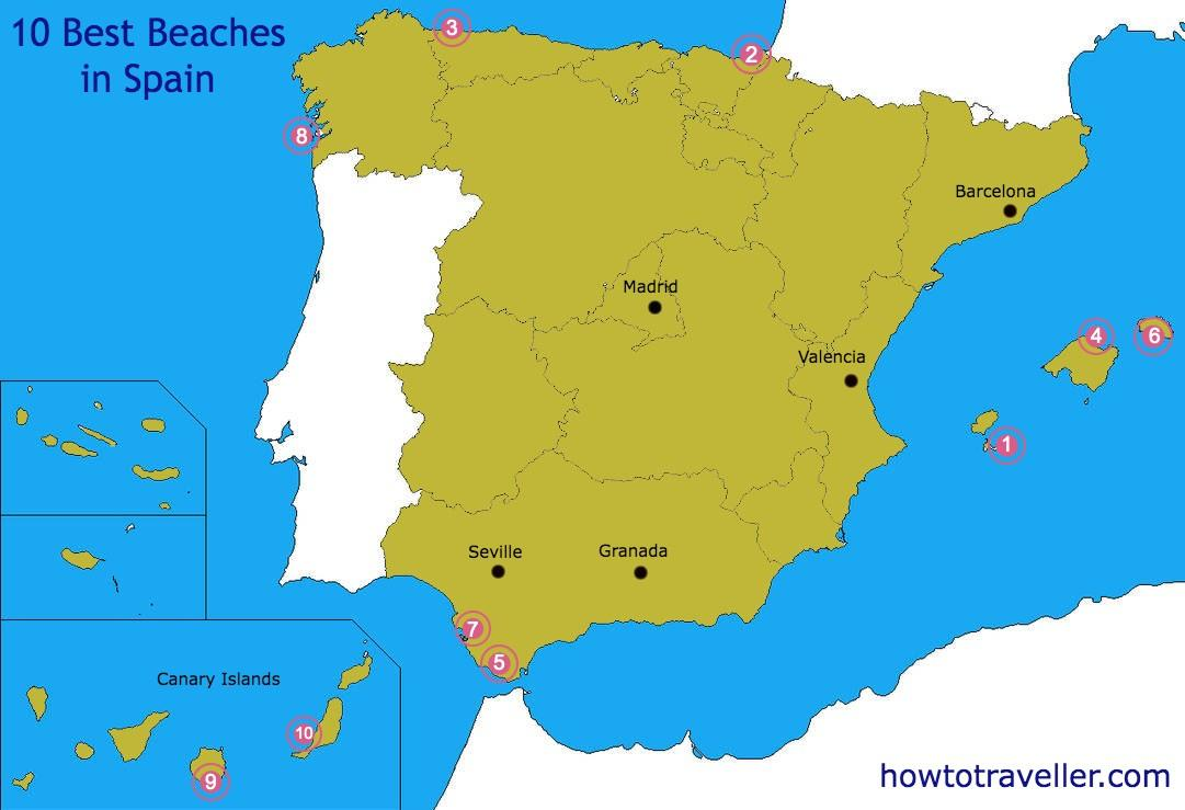 Best Beaches In Spain Map Map Of Best Beaches In Spain Southern