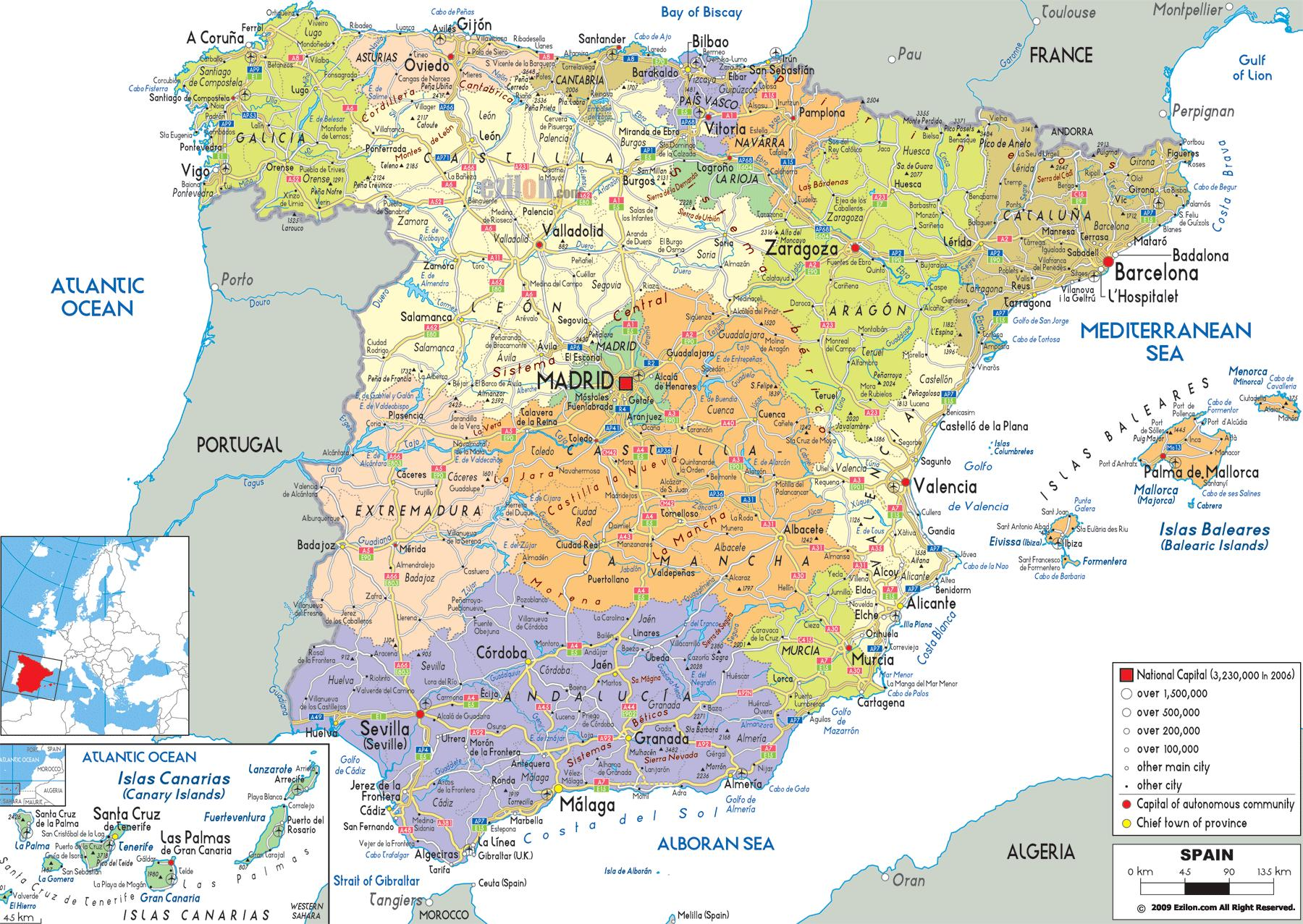 Detailed map of northern Spain - Northern Spain map regions ...