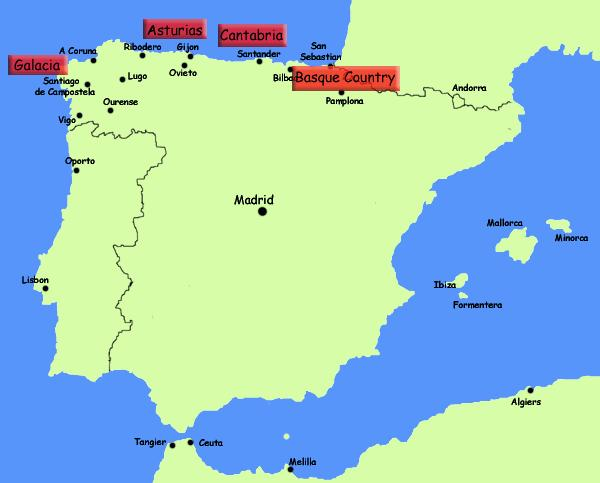 Map Of Southern Spain Resorts.Map Of Northern Spain Coast Northern Spain Resorts Map Southern