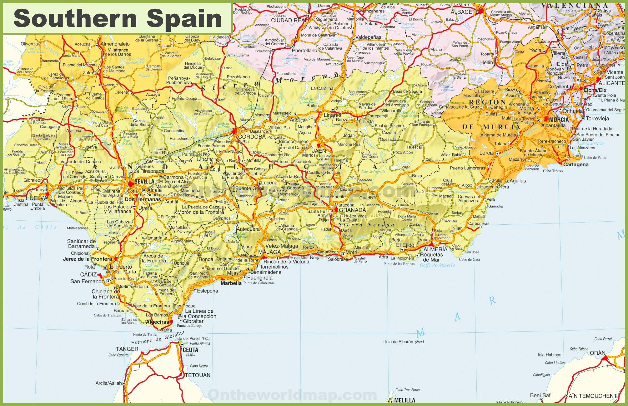 Map Of Southern Spain Detailed Map Of Southern Spain