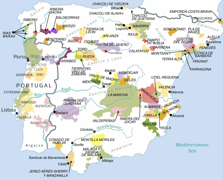 Spain Map Of Wine Regions.Map Of Wine Regions In Spain Map Of Spain Wine Regions