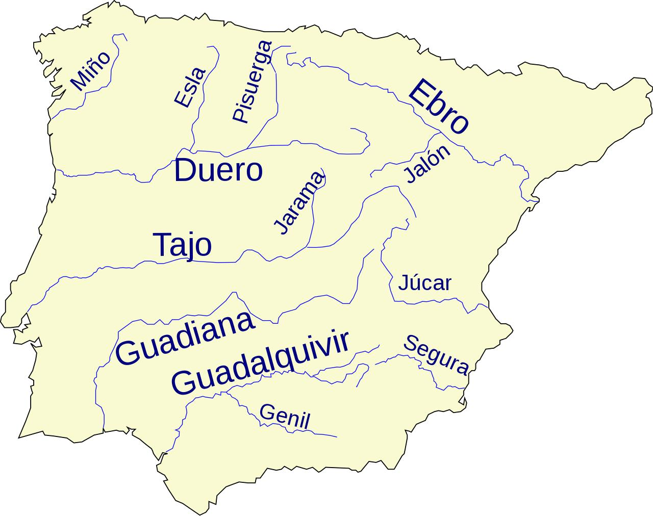 Picture of: Rivers In Spain Map Spain River Map Southern Europe Europe