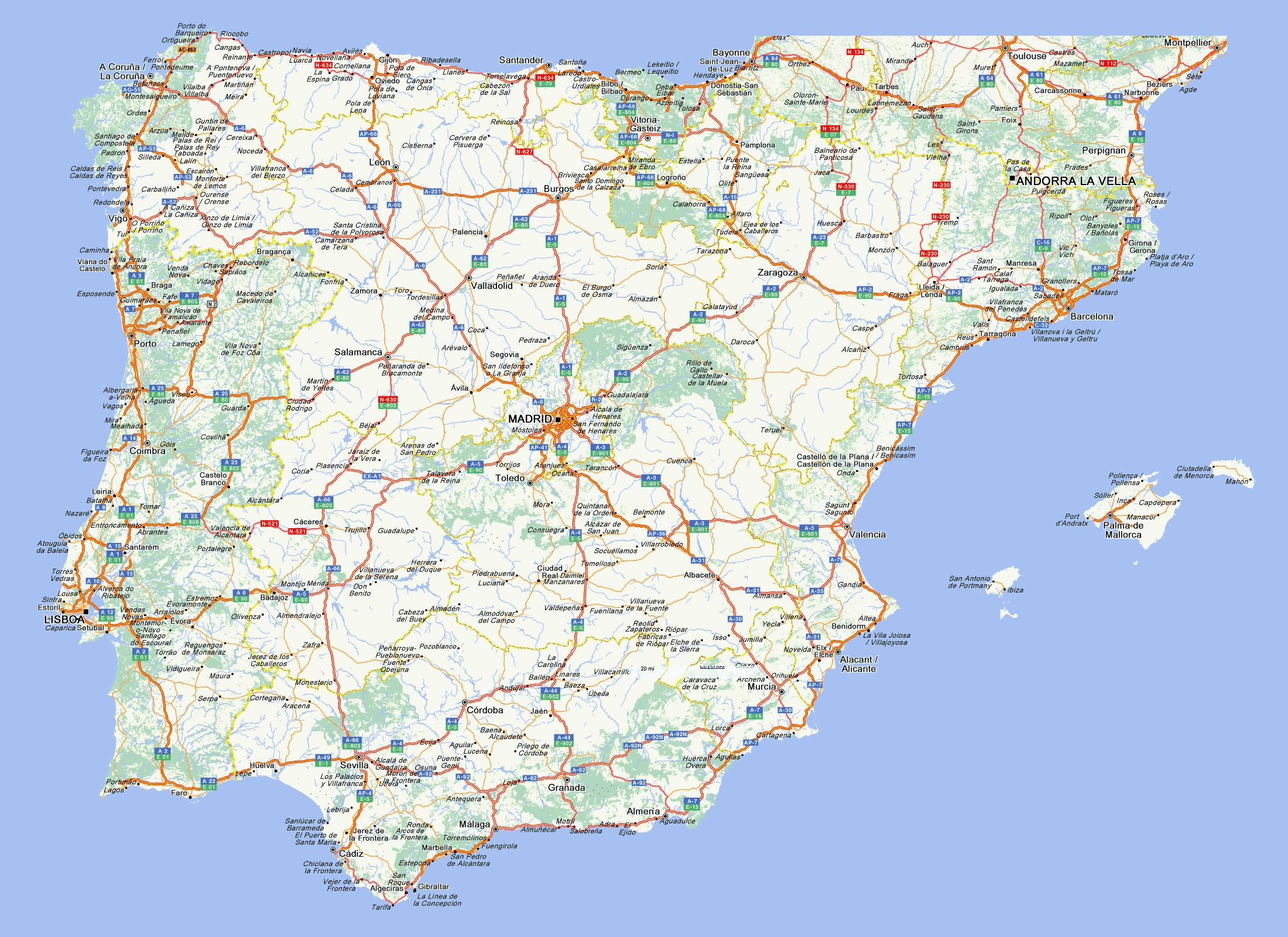 Road Map Of Spain.Road Map Of Spain Road Map Of Spain With Cities Southern Europe