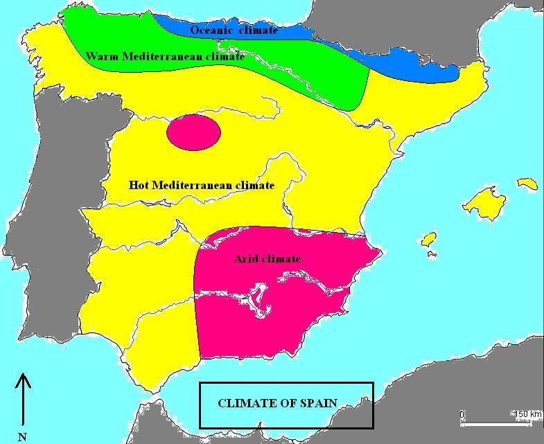Map Of Spain 1700.Spain Climate Map Map Of Spain Climate Southern Europe Europe