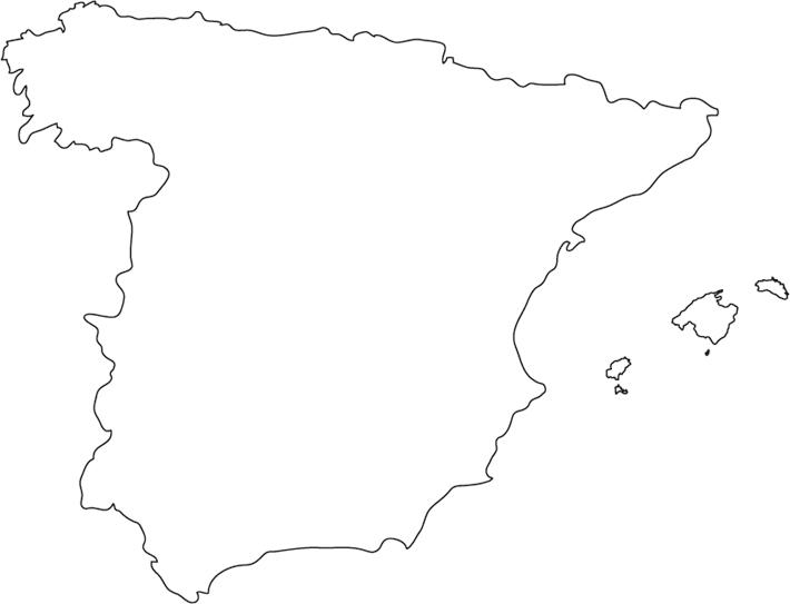 Spain Map Outline Outline Map Of Spain With Cities Southern