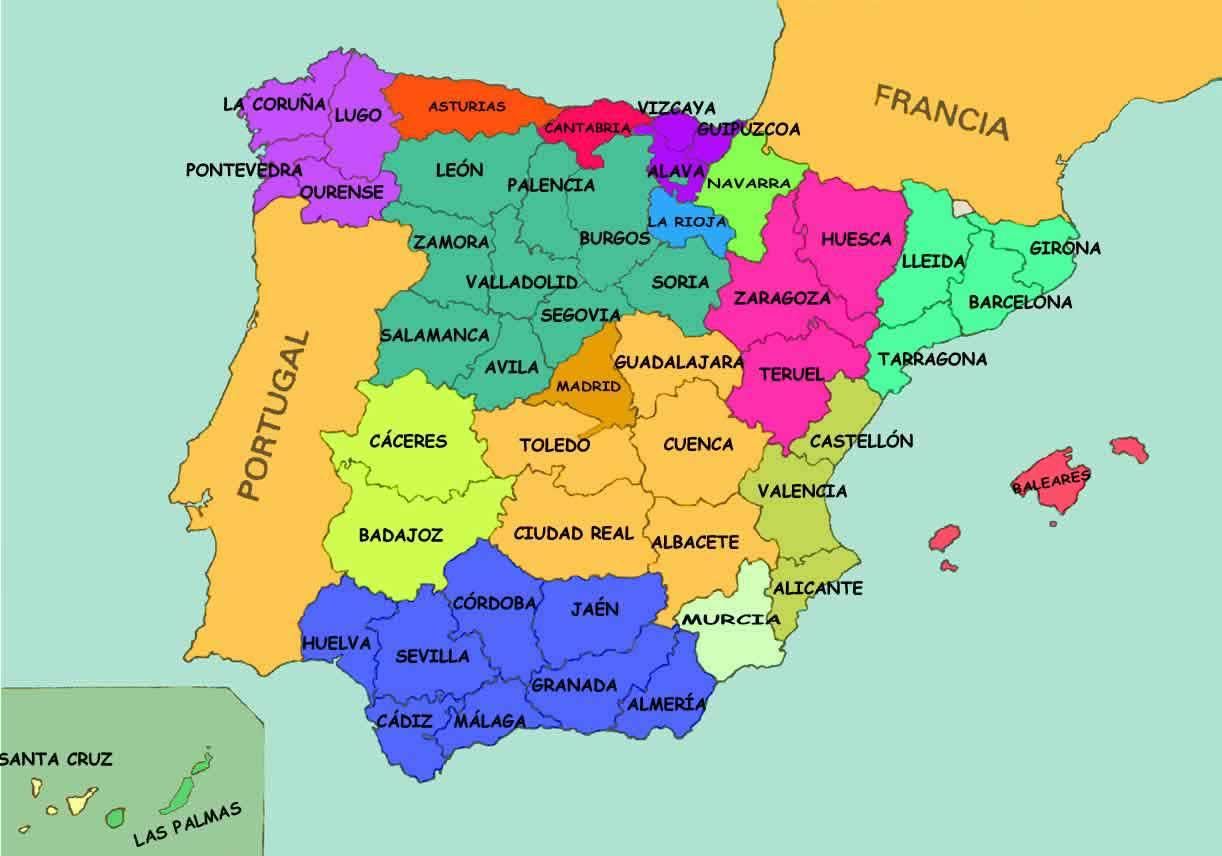 Spain States Map Map Of Spain States Southern Europe Europe