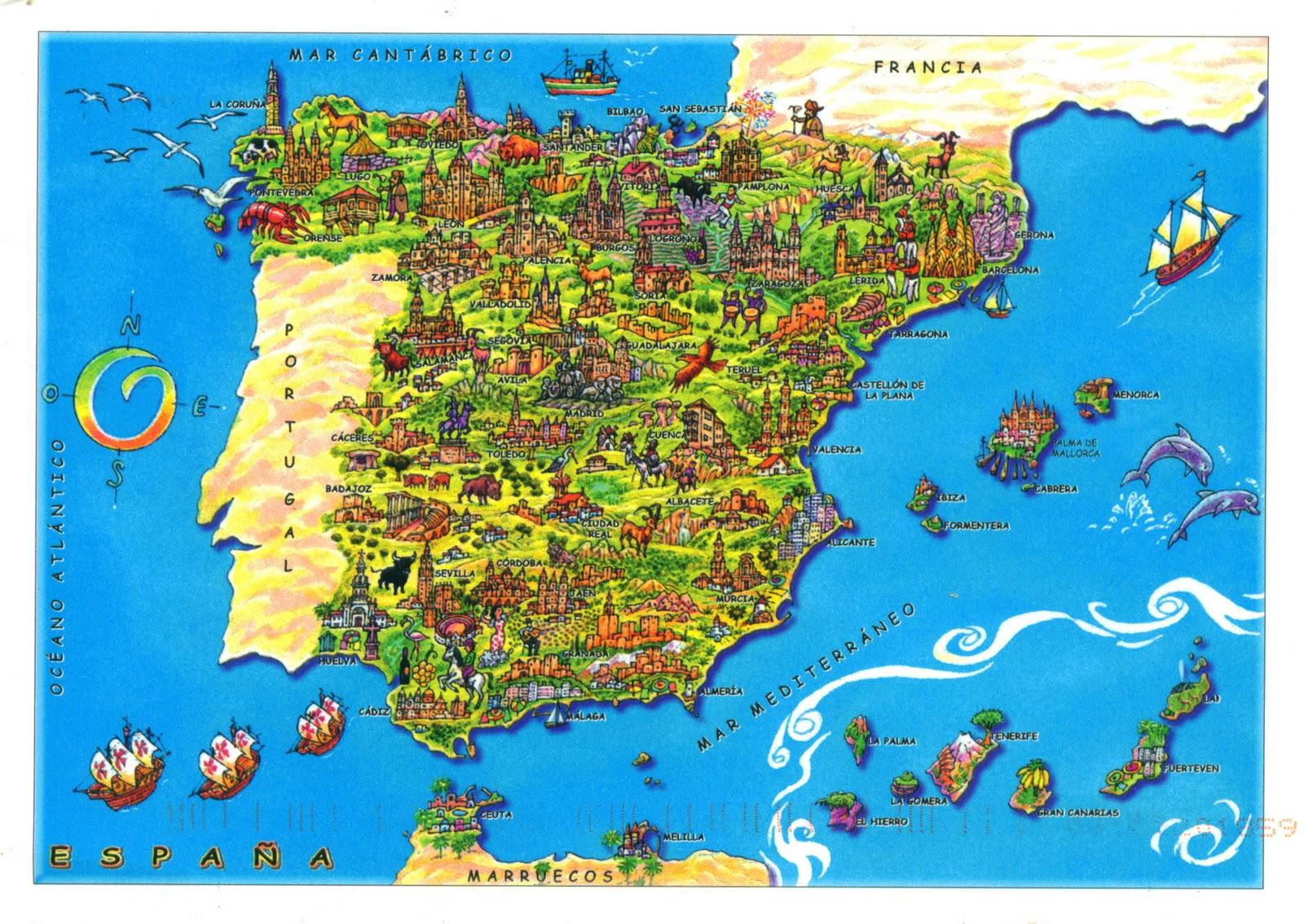 Spain tourist attractions map Spain map tourist attractions