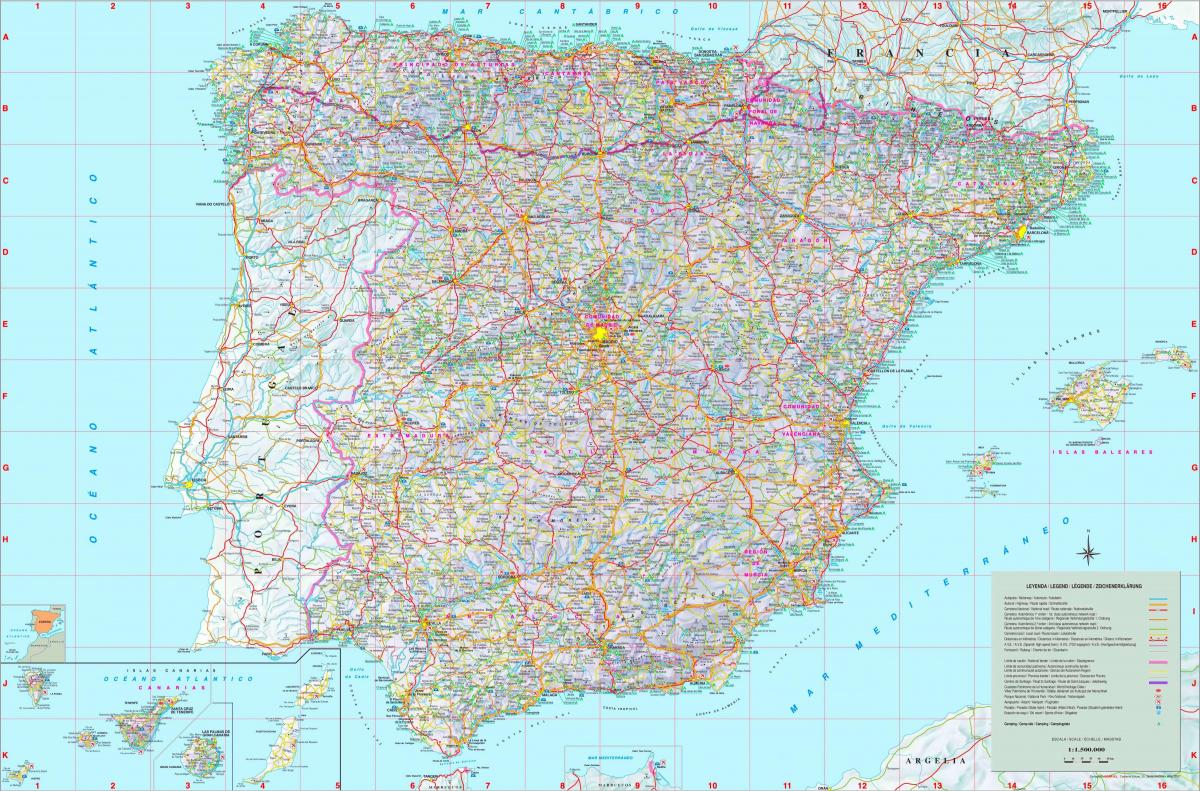 Map Of Spain Detailed.Detailed Map Of Spain Labelled Map Of Spain Southern Europe Europe