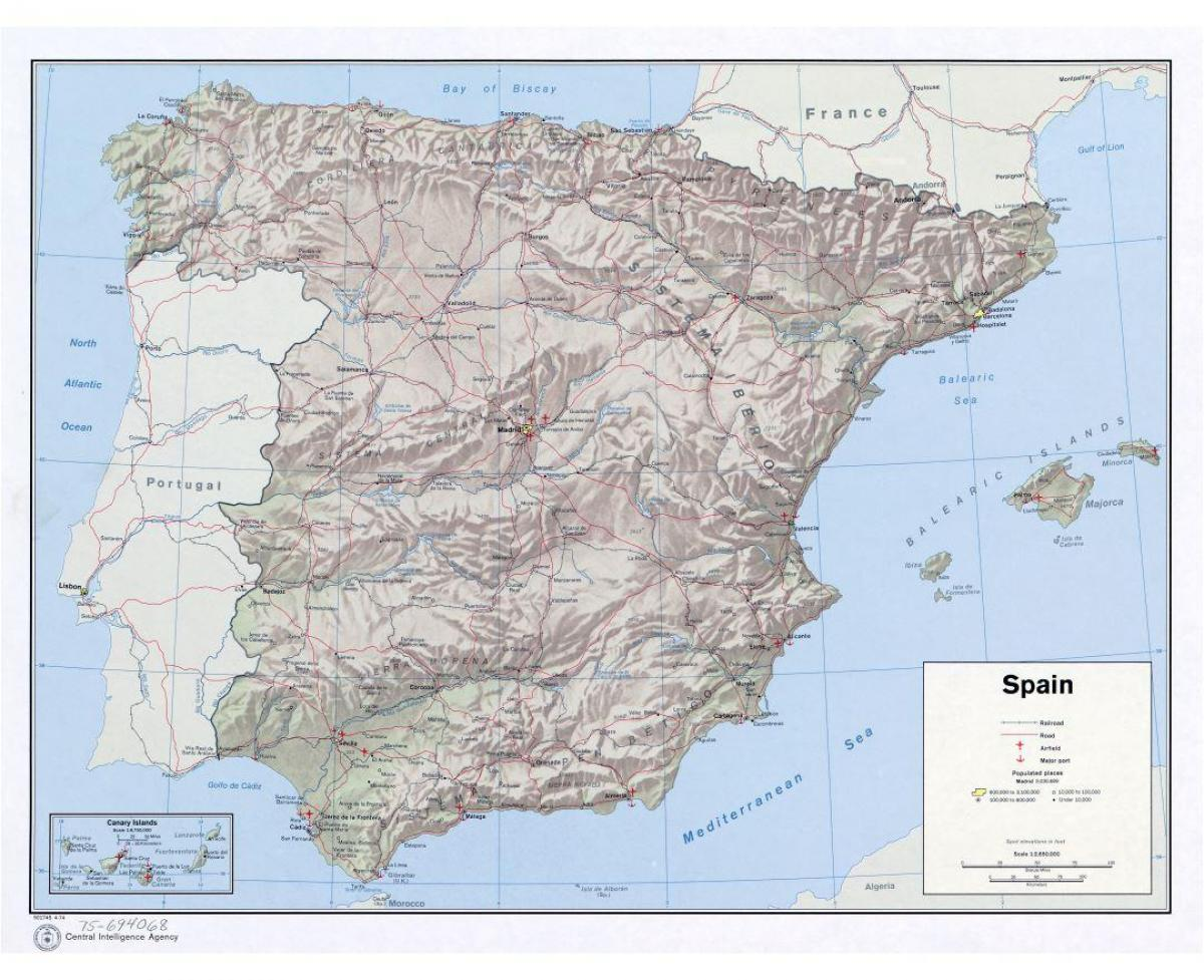 Large Scale Map Of France.Large Map Of Spain Large Scale Map Of Spain Southern