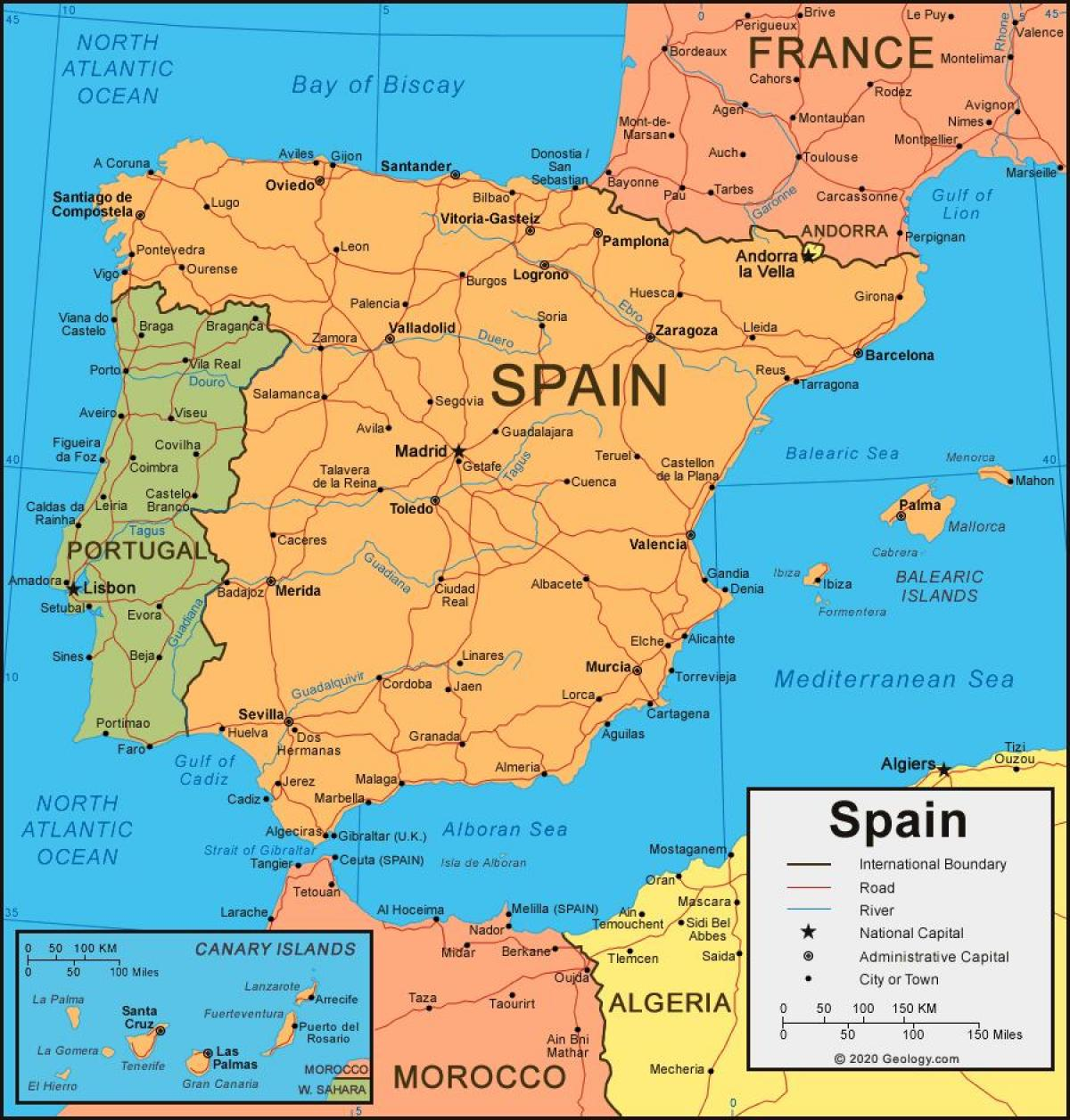 map of Spain and neighboring countries