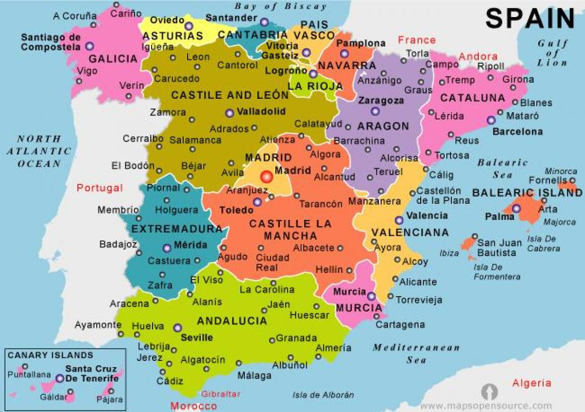 map of mainland Spain holiday resorts