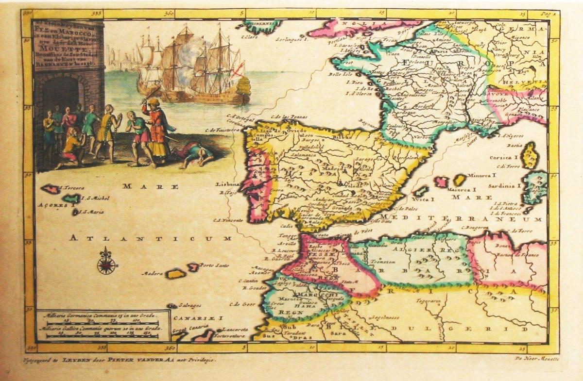 map of Spain old world