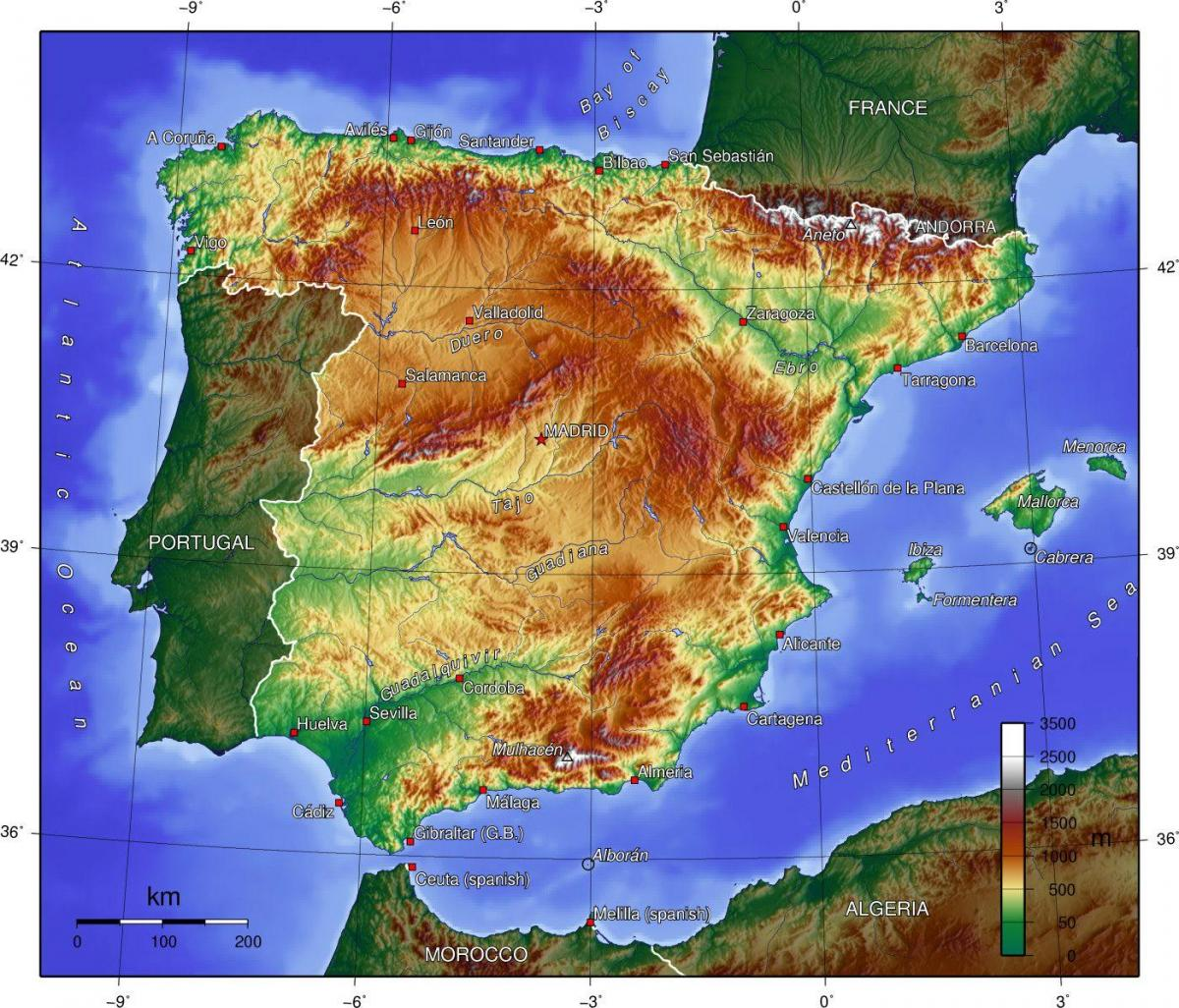 map of Spain geography