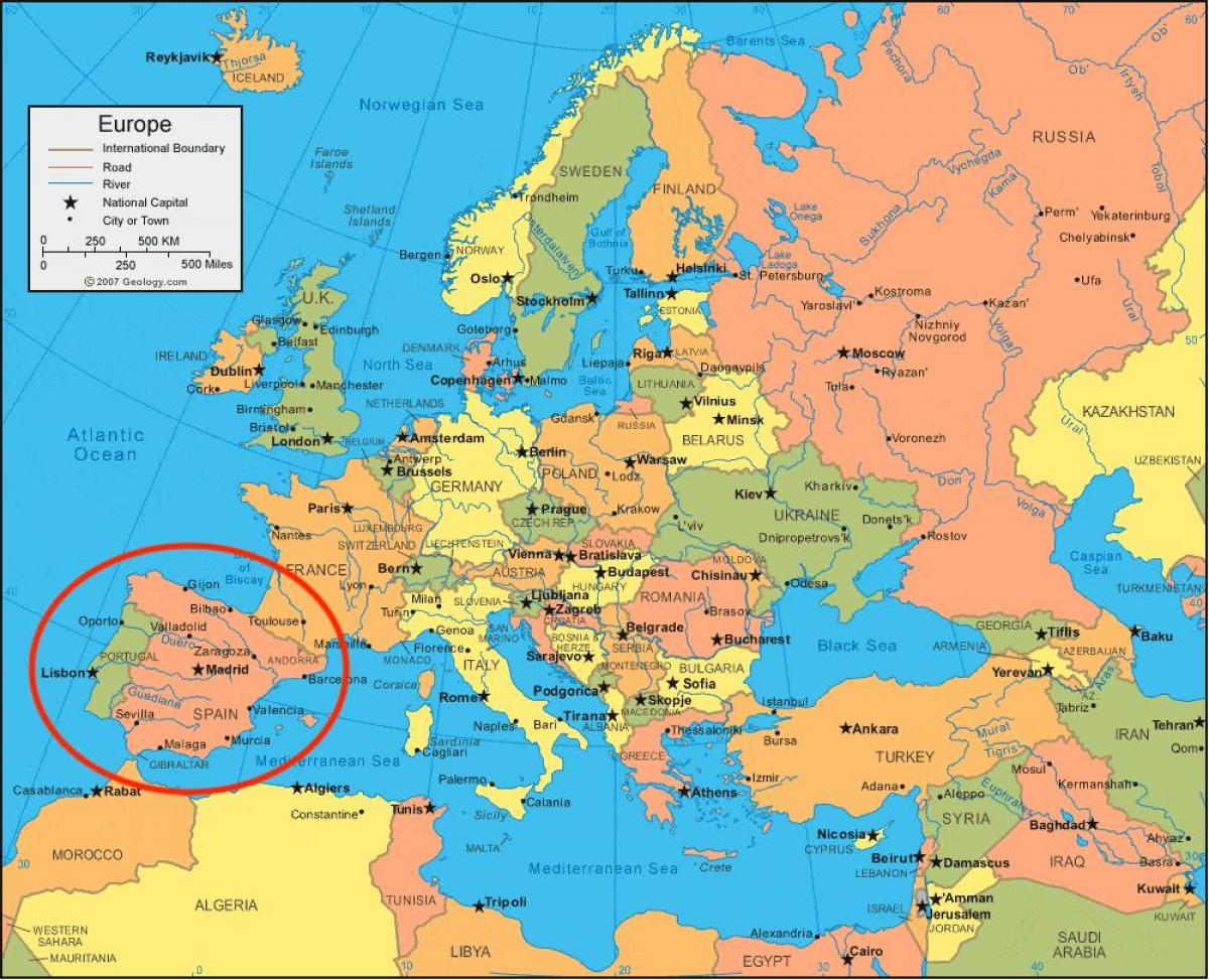 Map Of Spain In Europe.Spain Map Europe Map Of Spain And Europe Southern Europe Europe