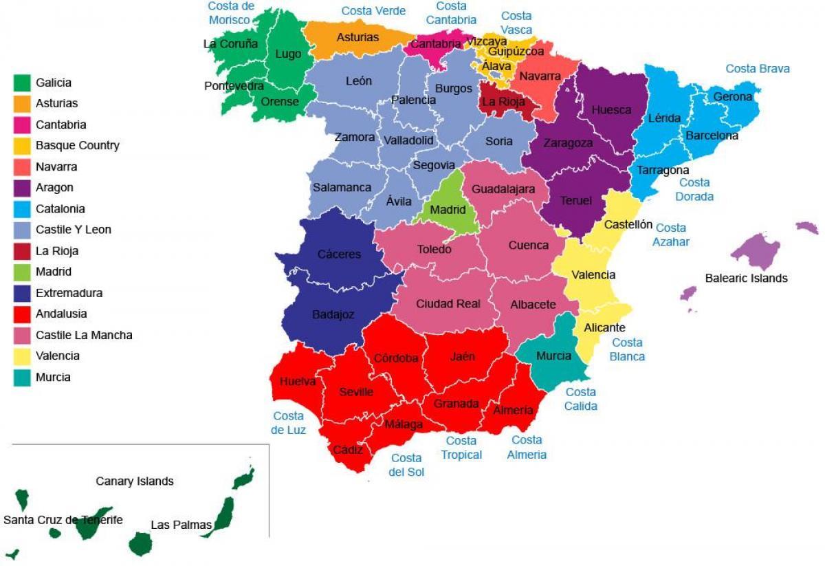 Spain provinces map - Spain map regions provinces (Southern ...