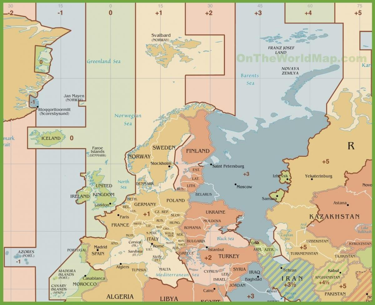 Map Of Spain Time Zones.Spain Time Zone Map Map Of Spain Time Zone Southern Europe Europe