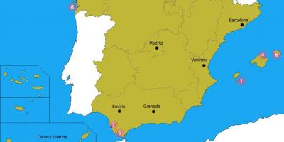 Map of best beaches in Spain