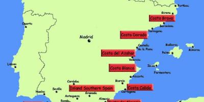 Map of southern Spain holiday resorts