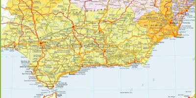 Detailed map of southern Spain