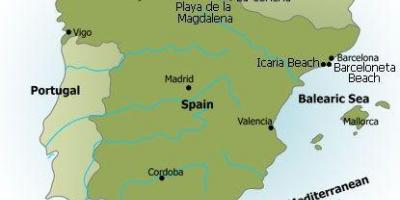 Map of Spain beaches