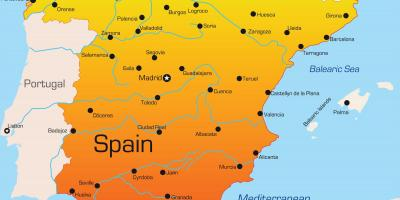 Holiday destinations in Spain map