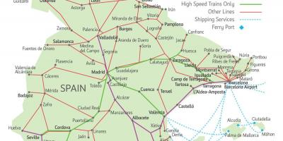 Map of train routes in Spain